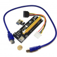 Espada PCI-E x1 Male to PCI-E x16 Female с питанием 4Pin Molex, EpciEkit02, Espada, в комплекте кабель usb 3.0 (ризер/райзер карта)